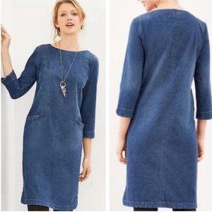 J Jill denim long sleeve 2 pocket shift dress xs